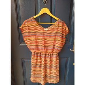 Lush | zig zag pattern warm color dress